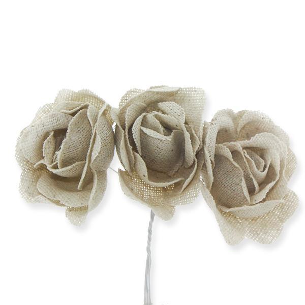 3 Demet (9 Adet) Keten Kumaş Gül Çiçek