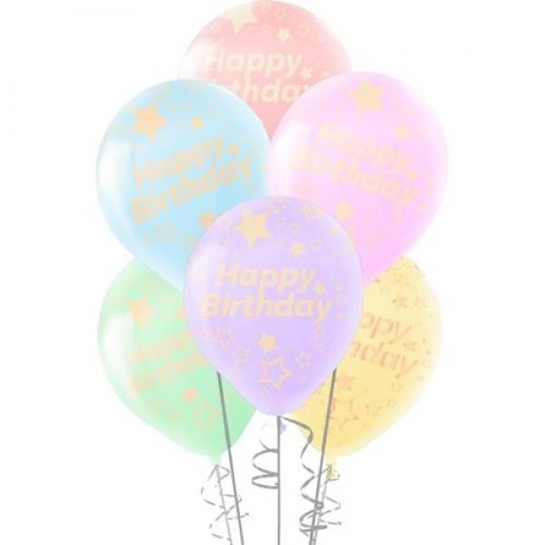 """30cm 10 Adet Yıldızlı Happy Birthday Baskılı Karışık Renk Balon 12"""""""