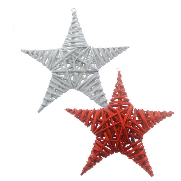 30cm Hasır Yıldız Kapı Ağaç Süsü