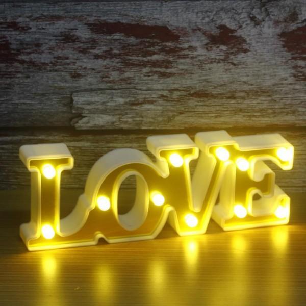 30cm Led Işıklı Plastik Love Yazısı Gece Lambası