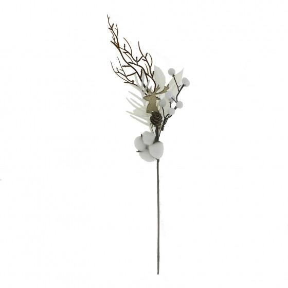 30x50cm Beyaz Meyveli Pamuklu Yapay Çiçek Dalı