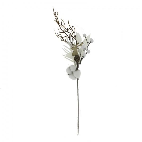 12x50cm Beyaz Meyveli Pamuklu Yapay Çiçek Dalı