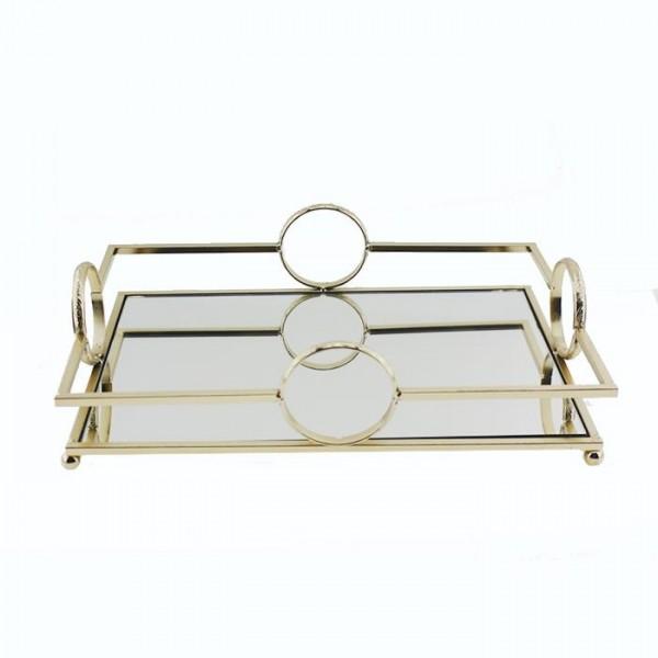 31x21cm Metal Tepsi Aynalı Masa Sunum Organizasyon