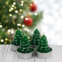 4 Adet 4cm Çam Ağacı Tealight Mum