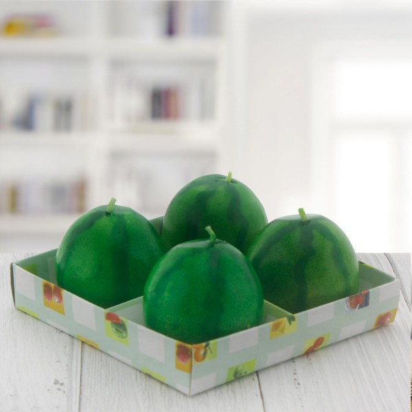 4 Adet 5x5cm  Karpuz Meyve Mum