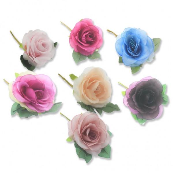 4 Adet Asetat Kutuda Kumaş Çiçek Gül