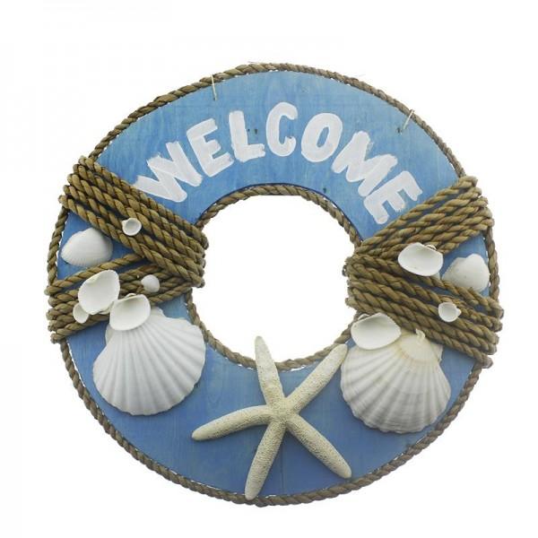 40cm Welcome Yazılı Doğal Deniz Kabuklu Kapı Süsü