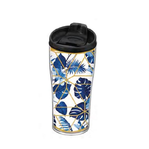 440cc Desenli Kahve Matarası Bardak Mavi Yaprak