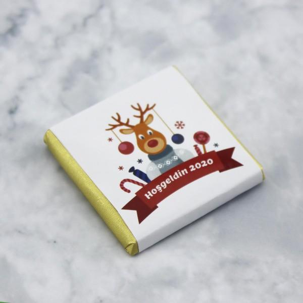 48 Adet (288gr.) Yılbaşı Geyikli Hoş geldin Yeni Yıl Madlen Çikolata