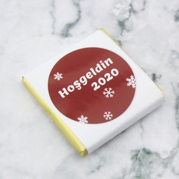 48 Adet (288gr.) Yılbaşı Hoş geldin 2020 Yeni Yıl Madlen Çikolata