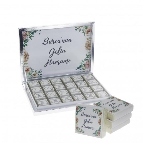 48 Adet İsim Etiketli  Doğal Sabun Gelin Hamamı Çiçek Çerçeveli