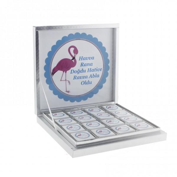 48 Adet İsim Etiketli Flamingo Madlen Bebek Çikolatası