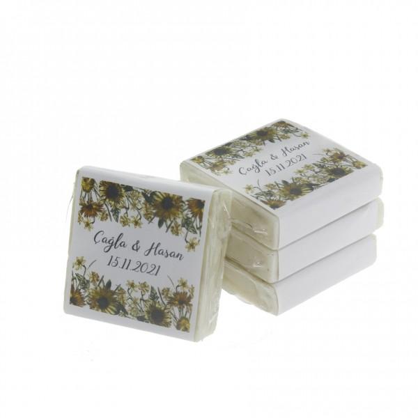 48 Adet İsim Etiketli Lavantalı Doğal Sabun Ayçiçek Tasarımlı