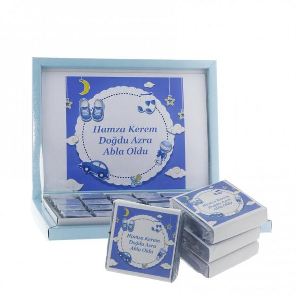 48 Adet İsim Etiketli Lavantalı Doğal Sabun Mavi Araçlı