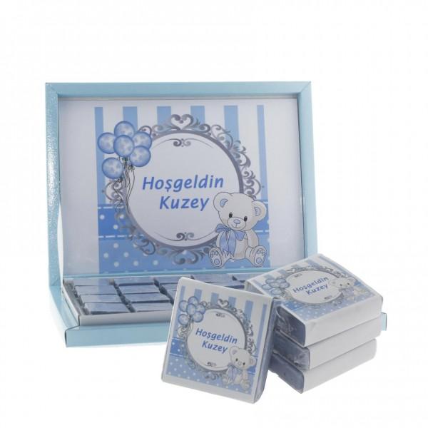 48 Adet İsim Etiketli Lavantalı Doğal Sabun Mavi Ayıcık