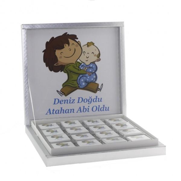 48 Adet İsim Etiketli Madlen Çikolata İki Erkek Kardeş Bebek