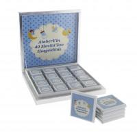 48 Adet İsim Etiketli Mavi Bebek Çikolatası Madlen Desenli
