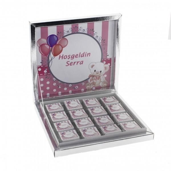 48 Adet İsim Etiketli Pembe Ayıcık Madlen Bebek Çikolata