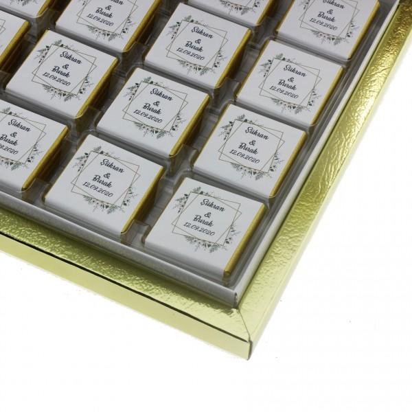48 Adet  İsim Etiketli Söz Nişan Madlen Çikolatası Mod.2