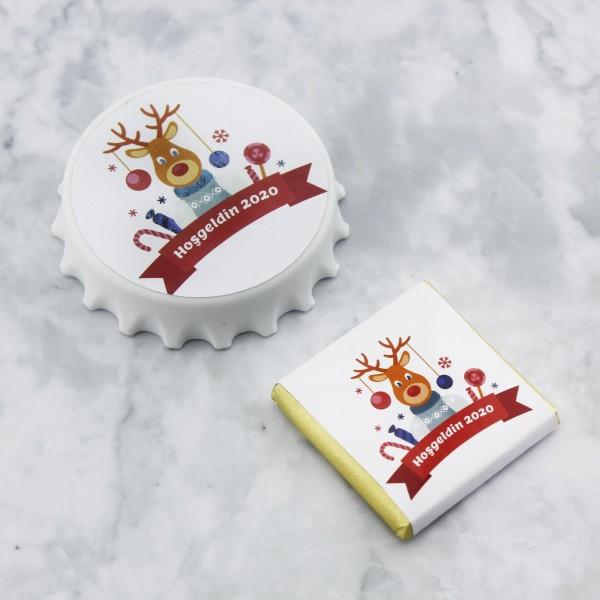 48 Adet Madlen Çikolata 48 Adet Açacak Yeni Yıl Geyikli Set