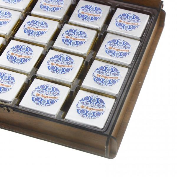48 Adet Madlen Çikolata İyi Bayramlar Ahşap Kutuda