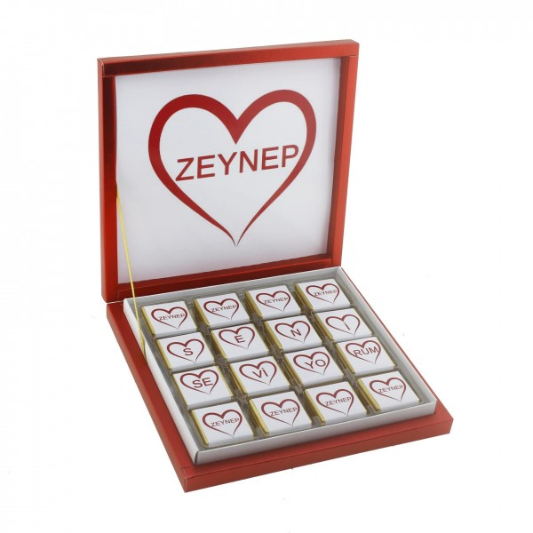 48 Adet Madlen Çikolata Sevgiliye İsme Özel Seni Seviyorum