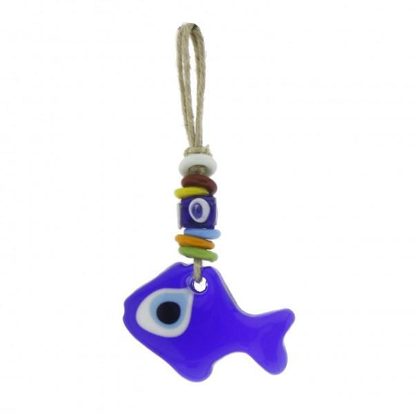 5x8cm Cam Nazar Boncuğu Balık Dekorasyon Süsleme