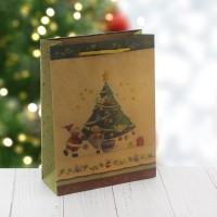 6 Adet 15x20cm Kraft Karton Çanta Çam Ağaçlı