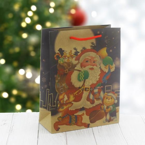 6 Adet 19x24cm Kraft Karton Çanta Noel Baba