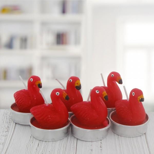 6 Adet 4cm Flamingo Tealight Mum