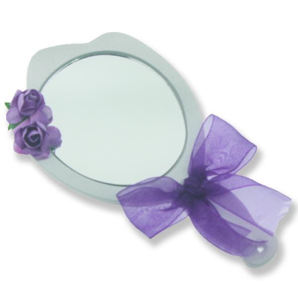 6 Adet Süslenmiş Ahşap El Aynası Beyaz