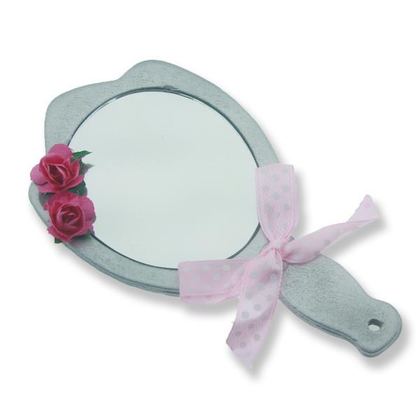 6 Adet Süslenmiş Ahşap El Aynası Gümüş