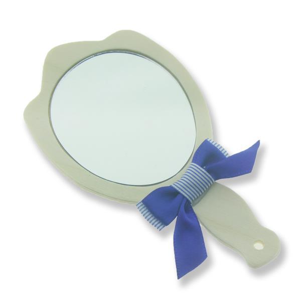 6 Adet Süslenmiş Ahşap El Aynası Krem
