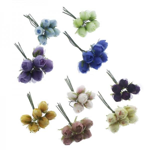 6 Demet (30 Adet) Tomurcuk Kumaş Saplı Çiçek