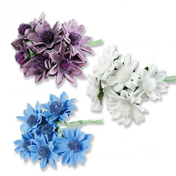 72 Adet Çiçek (12 Demet) Ortası Tüylü Çiçek
