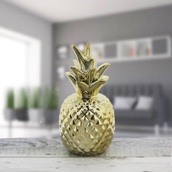 7x15cm Ananas Metalize Dekor Biblo