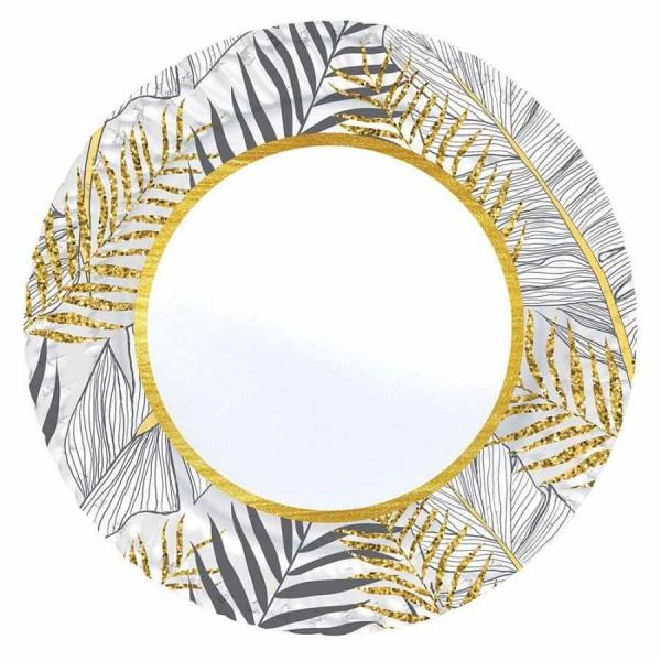 8 Adet 23cm Altın Simli Beyaz Yapraklar Karton Tabak