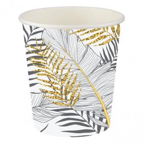 8 Adet Altın Simli Yapraklar Beyaz Karton Bardak