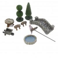 9 Parça Terrarium Süsleme Seti Biblo Havuz ve Köprülü