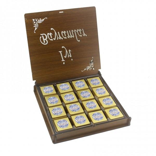 Ahşap Kutuda 48 Adet Çikolata ve Kolonya Bayram Seti