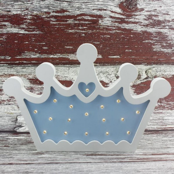 Ahşap Led Işıklı Pilli Kral Tacı Mavi