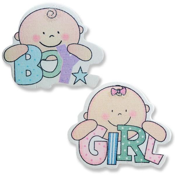 Ahşap Sticker Bebek 12 Adet