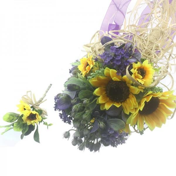 Ayçiçekli Gelin El Buketi Ve Damat Yaka Çiçeği