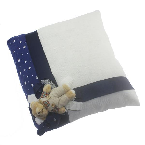 Ayıcıklı Keten Takı Yastığı Lacivert