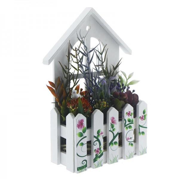 Bahar Çiçekli Ahşap Dekor Asacak Kutu / Ev Kapı Süsü