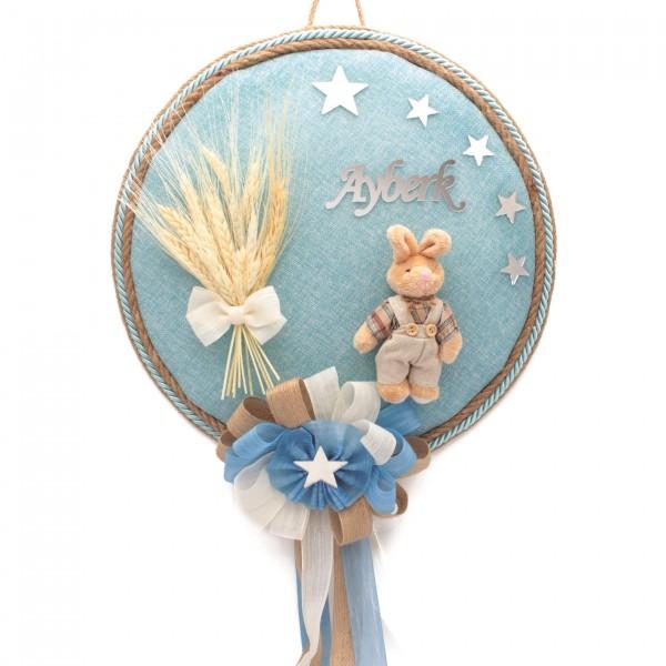 Bebek Kapı Süsü Pleksi İsimli Tavşanlı Mavi