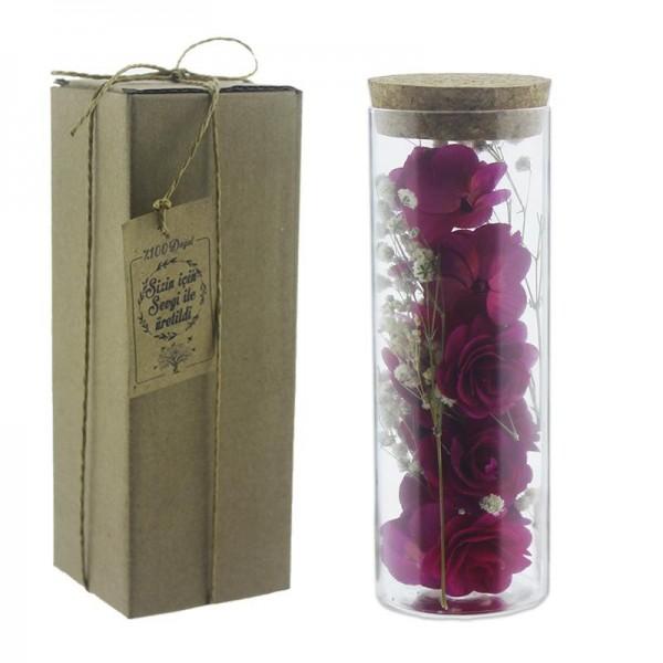 Cam Tüp İçinde Doğal Ahşap / Bambu Çiçek