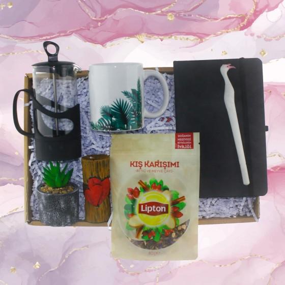 Çay Keyfi Hediye Kutusu Seti Lipton Çay ve Yapay Sukulentli