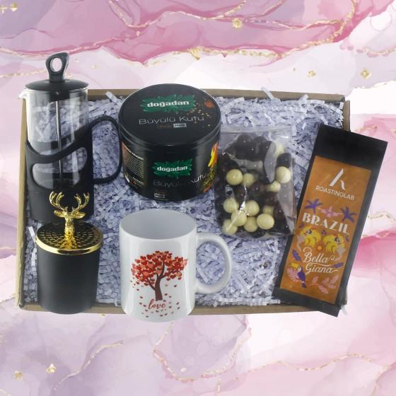 Çay ve Kahve Keyfi Hediye Seti Kutusu Çikolata ve Mumlu