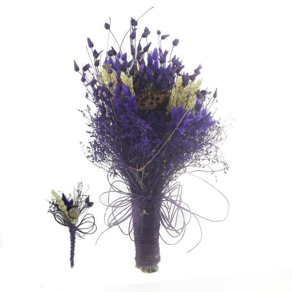 Doğal Kurutulmuş Gerçek Çiçek Gelin El Buketi Ve Yaka Çiçeği Mod.1